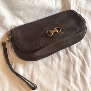 Michael Kors Brown pebble leather clutch